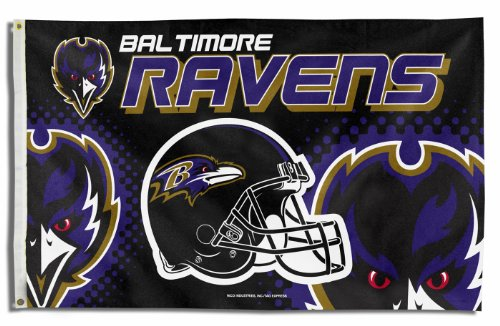 picture of NFL Baltimore Ravens 3-Foot-by-5-Foot Banner Flag