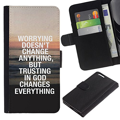 EuroCase - Apple Iphone 6 PLUS 5.5 - TRUST IN GOD CHANGES EVERYTHING - Cuir PU Coverture Shell Armure Coque Coq Cas Etui Housse Case Cover
