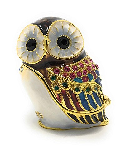 Kubla Crafts Enameled Owl Trinket Box, Accented with Austrian ()