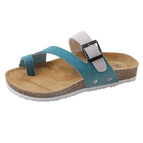 Logobeing Sandalias Mujer Verano/Plataforma/Planas/Fiesta/Cuña Zapatos Moda para Mujer Cruz Toe Hebilla Correa Verano Playa Zapatillas Zapatillas de Corcho ...