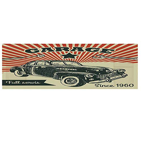 Cars Microwave Oven Cover with 2 Storage Bag,Retro Car and Garage Advertising Poster Style Picture with Grunge Effects 1960s Theme Cover for Kitchen,36