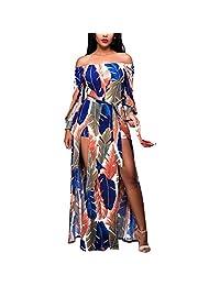 Moxeay Women's Long Sleeve Off Shoulder Floral Print High Split Long Beach Dress