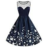 Women Dresses Women's Casual Sleeveless Lace Patchwork Star Print Vintage Gown Party Dress