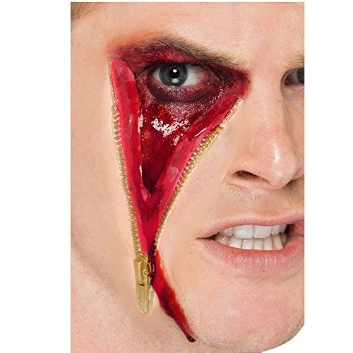Smiffy's Rubber Flesh Zip Face (Mens Two Face Costume Uk)