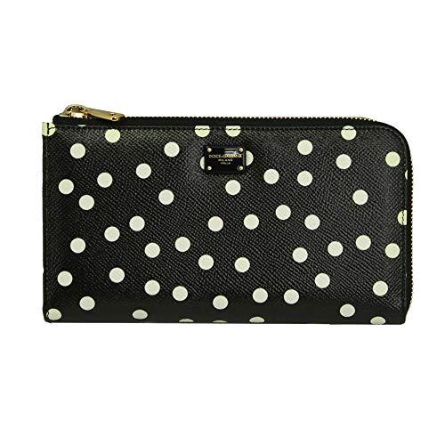 (Dolce & Gabbana Black Leather Zip Around Long Wallet Bi0473 AI024 )