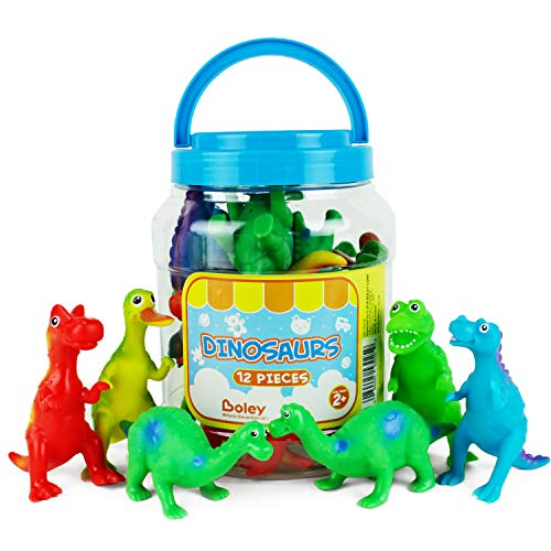 (Boley Learning Lootbox Educational Toys for Kids & Toddlers - 12 Piece Toy Dinosaur Figures - Including T-Rex, Brontosaurus & More)