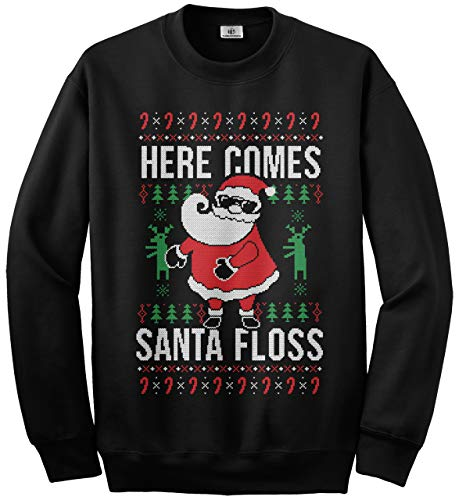 (Threadrock Here Comes Santa Floss Ugly Christmas Sweater Kids Youth Sweatshirt L)