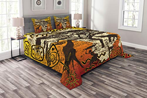 Lunarable African Coverlet Set Queen Size, African Animals Safari Theme Ancient Cultural Ethnic Art Grunge Bohemian, Decorative Quilted 3 Piece Bedspread Set with 2 Pillow Shams, Yellow Orange Brown