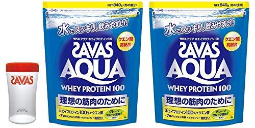 【2袋セット+シェーカー付き】ザバス アクアホエイプロテイン100 グレープフルーツ風味【40食分】 840g B01LKKBGQ0