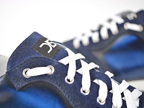 Italo Inconnu - Bas-top Chaussures De Course Poli Suède Leur Propre Élégant, Chaussures De Course De Style Poli Et Wildlederem Blu-cuir, 100% À La Main En Italie