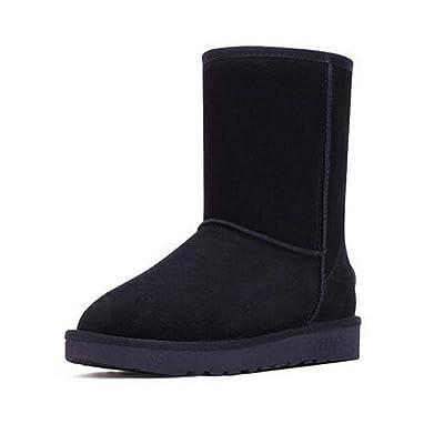 TT&XUEDIXUE Chaussures pour femmes en cuir / hiver bottes de neige / bottes de mode en plein air / talon plat fourrure court tube haut noir / kaki / café / gris , black , élevé