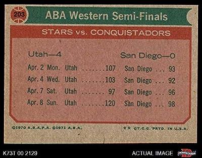 1973 Topps # 203 ABA West Semi-Finals Utah/Kentucky Stars/Conquistadors (Basketball Card) Dean's Cards 4 - VG/EX Stars/Conquistadors