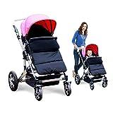 Kidsidol Baby Sleeping Bag Universal Bunting Bag Stroller Footmuff Cover 3-in-1 Baby Stroller Blanket Waterproof Windproof Stroller Annex Mat Keep Warm and Detachable (Black)