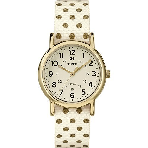 The Amazing Quality Timex Weekender Dots Small Watch - Reversible Cream/Gold Dots