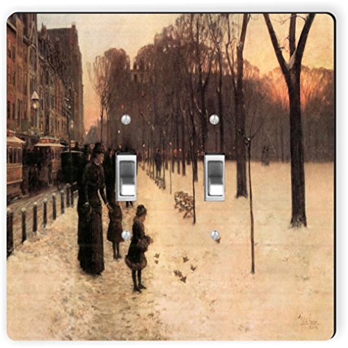 Rikki Knight 2956 Double Toggle Childe Hassam Art Boston In Everyday Twilight Design Light Switch Plate by Rikki Knight