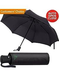 Travel Umbrella - Сompact Folding Umbrella - Best Windproof Lightweight Portable Foldable Umbrella - Auto Open Сlose Automatic Сollapsible Umbrella Black