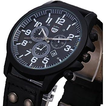 LANDFOX Mens Vintage Classic Waterproof Date Leather Strap Sport Quartz Army Watch Black