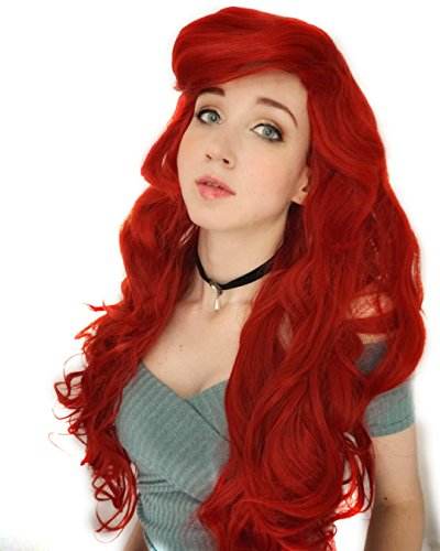 Probeauty Mermaid Hair Wig Long Curly Wavy Red Cosplay Costume Wigs for Women+Wig Cap -