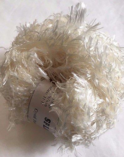 Crystal Palace Splash #201 Ivory - Cream White Feather Boa Short Eyelash Yarn 100 Gram 85 Yards