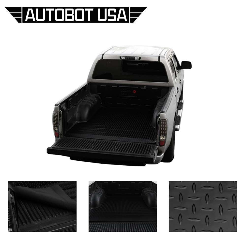 3500 Rubber Diamond Floor Mat Carpet 2500//2500 HD Autobotusa Black Finished Fleetside 8 Ft Long Truck Bed 1999-2007 for GMC Sierra 1500//1500 HD