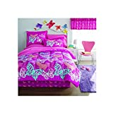 8 Piece Playful Garden Butterflies Patterned Sheet Set Full Size, Featuring Printed Abstract Colorful Butterfly Prints Bedding, Whimsical Bold Graphic Design, Artistic Style Girls Bedroom, Purple