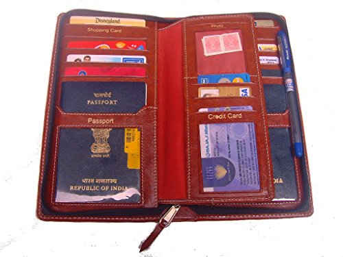 Sukesh Craft Men's Definition -Passport Cover For 2 Passports One Size Brown