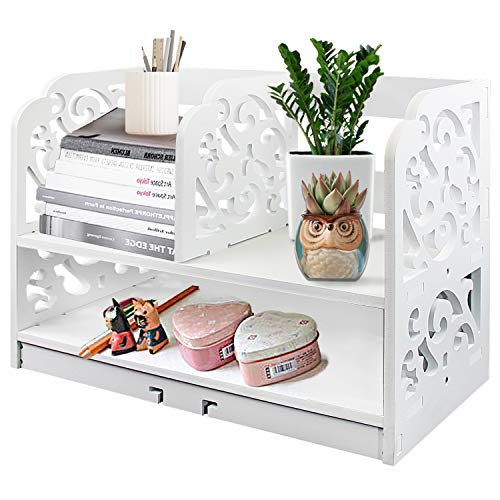 DL Furniture - 3 Compartment Wood Plastic Composite Desk Organizer, Perfect for Book Shelf, Make Up Organizer, Cookie Rack with Base | White ()