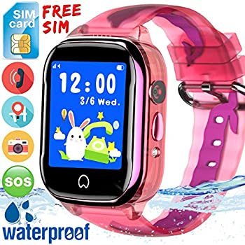 Kids Smart Watch GPS Tracker - [Free SIM Card]2019 New Waterproof Kids Smartwatch Phone for Boys Girls with HD Touch Screen SOS Anti-Lost Camera Game Toys ...