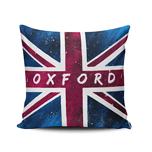 Oxford British Union Jack Flag Pillowcase Home Sofa Decorative 18X18 Inch Square Throw Pillow Case Decor Cushion Covers One-Side Printed ()