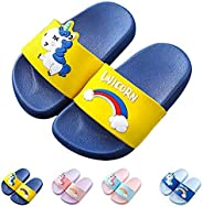 Yu Li Kids Unicorn Slide Sandals Non-Slip Summer Beach Water Shoes Boys Girls Shower Pool Slippers(Toddler/Lit