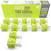 GU10 LED Glühbirnen 5w 12 Pack, Warm Weiß, GELD-ZURÜCK-Garantie, 3000k 400 Lumen äquivalent zu 50w Halogenstrahler, Einfacher Austausch, beste Glühbirne, UK-Lager - Natürliches Tageslicht, nicht dimme Strahler geeignet für Küche/Haus, passend als Deckenstrahler