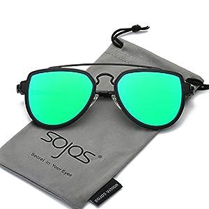 SojoS Fashion Aviator Unisex Sunglasses Flat Mirrored Lens Double Bridge SJ1051 Matte Black Frame/Green Mirrored Lens
