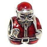 Pro Jewelry 925 Solid Sterling Silver Santa Claus Wearing a Red Hat and Jacket Charm Bead