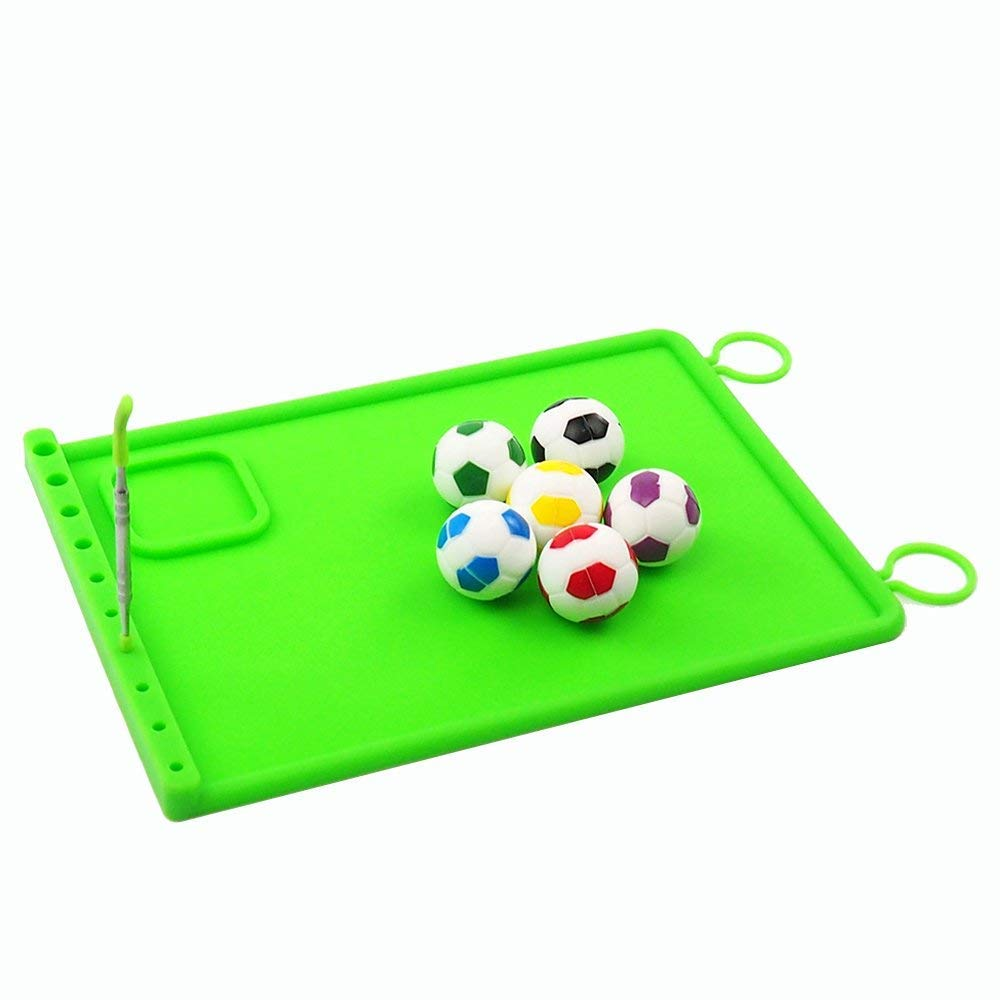 Silicone Football Shape Wax Container Green Concentrate Mat and a Holder