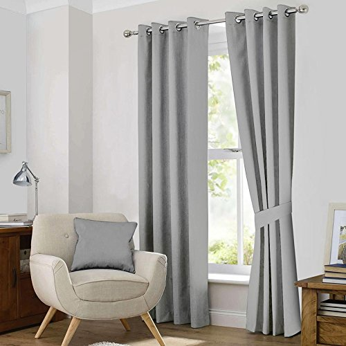 Ample Décor Blackout Curtain Panels Window Draperies – (Steel Grey Color) 46×84 Inch, 2 Pieces,Thermal Insulating Room Darkening Blackout Drapes for Bedroom For Sale