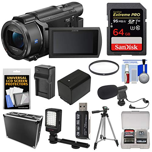 Sony Handycam FDR-AX53 Wi-Fi 4K Ultra HD Video Camera Camcorder with 64GB Card + Battery & Charger + Hard Case + Tripod + LED Light + Microphone + - Sony Microphone Video Camera