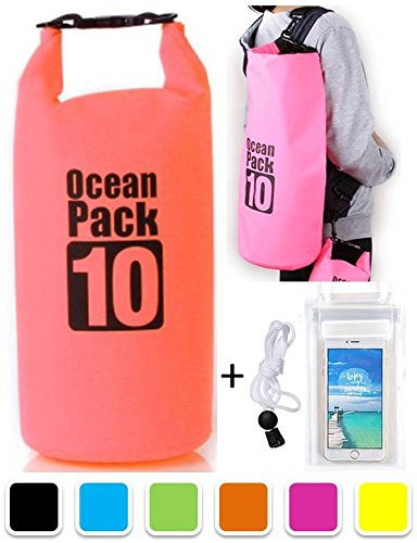 sg-dreamz-10-20-litre-dry-pak-waterproof-bag-with-long-adjustable-shoulder-strap-pink-10-litre