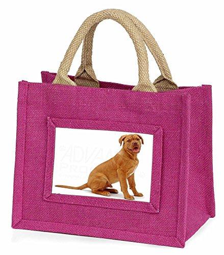 Advanta–Mini Pink Jute Tasche Dogue de Bordeaux Hund Little Mädchen klein Einkaufstasche Weihnachten Geschenk, Jute, pink, 25,5x 21x 2cm