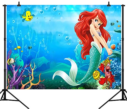 CapiSco 7X5FT Mermaid Backdrop Fairy Tale Under The Sea Little Mermaid Backdrops Booth Birthday Party Banner Background SCO37