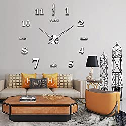Modern Frameless DIY Wall Clock Large 3D Wall Watch Non Ticking for Living Room Bedroom Kitchen (2-Year Warranty) (Silver-002)