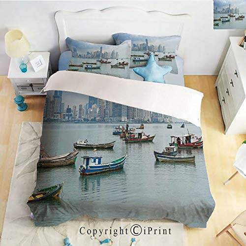 Homenon Bedding 4 Piece Sheet,Anchored Fishing Boats Skyscrapers Panama Cityscape Pacific Coast Central America,Multicolor,Full Size,Suitable for Families,Hotels