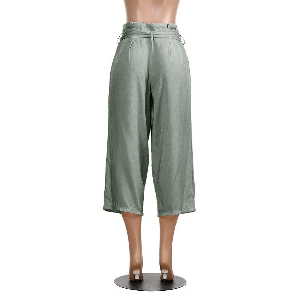 SOMESUN Pantaloni Casual a Vita Alta Con Elastico In Da Donna Bowtie Righe  Larghi Taglie Forti e49d7c72d8c