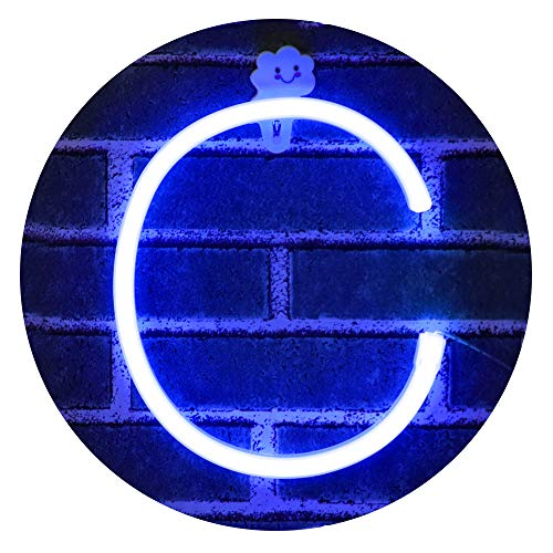 Obrecis Light Up Letters for Wall Decor, Neon Art Light Letters of The Alphabet Marry Me Decorations for Bedroom, Living Room, Wedding Party-Blue Letter C (Light Up Letter A Wall Decor)