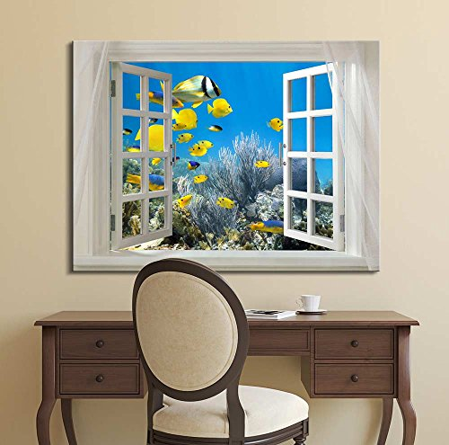 Glimpse into Deep Sea View and Tropical Fish Out of Open Window Wall Decor ation