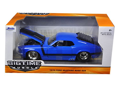 NEW 1:24 W/B JADA TOYS BIG TIME MUSCLE COLLECTION - BLUE 1970 FORD MUSTANG BOSS 429 Diecast Model Car By Jada Toys - Mustang Boss 429 Model