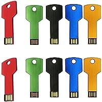 Uactor 10pcs 4GB Metal Key Shaped USB 2.0 Flash Drives Thumb Stick Memory Stick Hole Portable Mix-Color