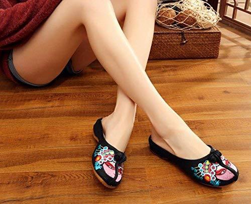 Bestickte Schuhe Sehnensohle ethnischer Stil weiblicher weiblicher weiblicher Flip Flop Mode Bequeme lässige Sandalen Schwarz (Farbe   - Größe   -) 9ad6d5