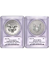 2013 W West Point Silver Eagle Set PCGS 70 FIRST STRIKE SET (Miles Standish Auto) Dollar DCAM PCGS