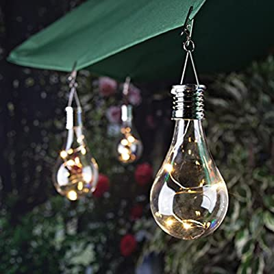 Uonlytech Waterproof Solar Rotatable Hanging LED Light Lamp Bulb for Outdoor Garden Camping (Transparent Shell with Warm White Light)
