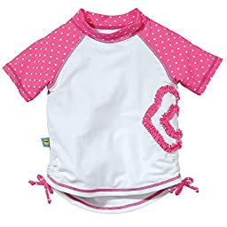 Pink and White Short Sleeve Rash Guard by Sun Smarties, Size 18 Month